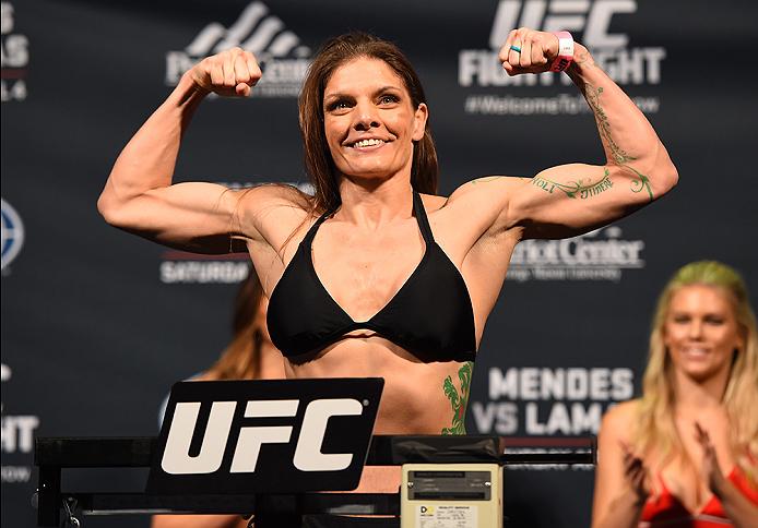 FAIRFAX, VA - APRIL 03:   Lauren Murphy weighs in during the UFC weigh-in at the Patriot Center on April 3, 2015 in Fairfax, Virginia. (Photo by Josh Hedges/Zuffa LLC/Zuffa LLC via Getty Images)