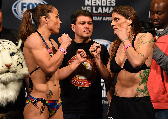 FAIRFAX, VA - APRIL 03:   (L-R) Opponents Liz Carmouche and Lauren Murphy face off during the UFC weigh-in at the Patriot Center on April 3, 2015 in Fairfax, Virginia. (Photo by Josh Hedges/Zuffa LLC/Zuffa LLC via Getty Images)