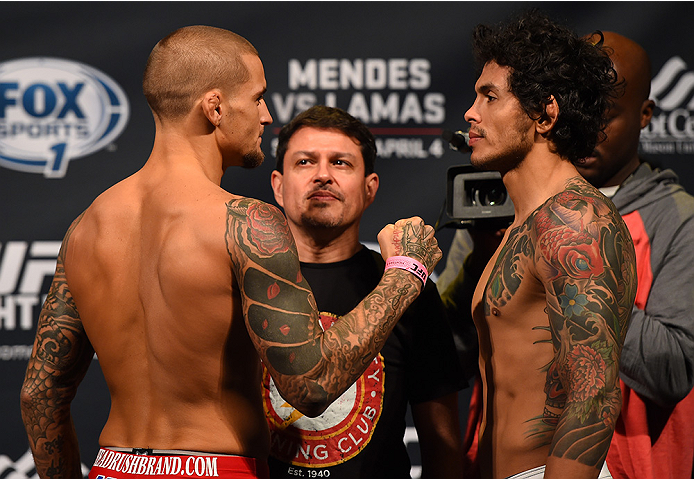 FAIRFAX, VA - APRIL 03:   (L-R) Opponents Dustin Poirier and Diego Ferreira of Brazil face off during the UFC weigh-in at the Patriot Center on April 3, 2015 in Fairfax, Virginia. (Photo by Josh Hedges/Zuffa LLC/Zuffa LLC via Getty Images)