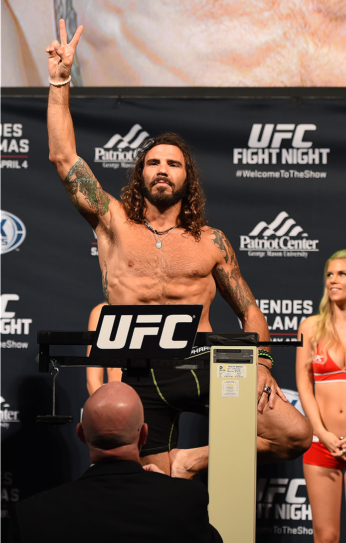 FAIRFAX, VA - APRIL 03:   Clay Guida weighs in during the UFC weigh-in at the Patriot Center on April 3, 2015 in Fairfax, Virginia. (Photo by Josh Hedges/Zuffa LLC/Zuffa LLC via Getty Images)