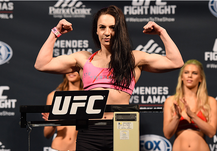 FAIRFAX, VA - APRIL 03:   Milana Dudieva of Russia weighs in during the UFC weigh-in at the Patriot Center on April 3, 2015 in Fairfax, Virginia. (Photo by Josh Hedges/Zuffa LLC/Zuffa LLC via Getty Images)