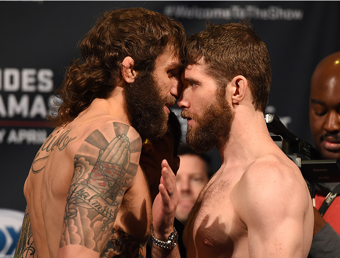 FAIRFAX, VA - APRIL 03:   (L-R) Opponents Michael Chiesa and Mitch Clarke of Canada face off during the UFC weigh-in at the Patriot Center on April 3, 2015 in Fairfax, Virginia. (Photo by Josh Hedges/Zuffa LLC/Zuffa LLC via Getty Images)