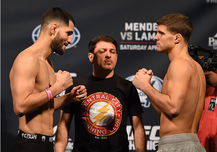 FAIRFAX, VA - APRIL 03:   (L-R) Opponents Jorge Masvidal of Cuba and Al Iaquinta face off during the UFC weigh-in at the Patriot Center on April 3, 2015 in Fairfax, Virginia. (Photo by Josh Hedges/Zuffa LLC/Zuffa LLC via Getty Images)