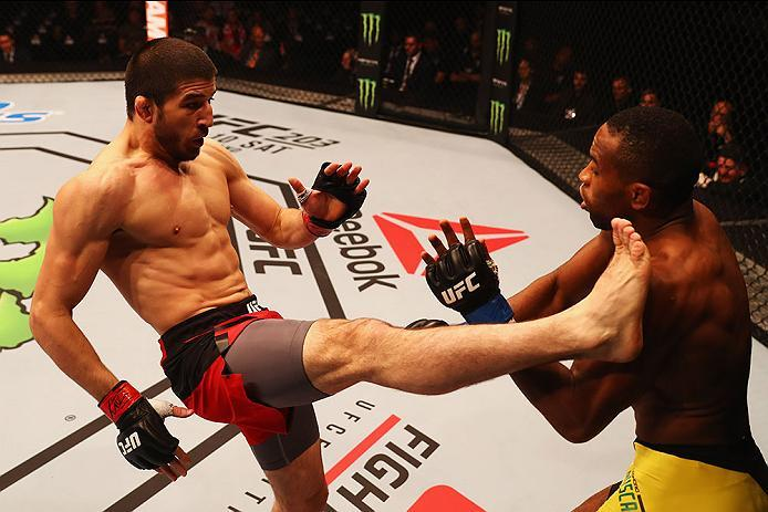 HAMBURG, GERMANY - SEPTEMBER 03:  Rustam Khabilov (L) of Russia kicks facing Leandro Silva (R) of Brazil  in their Lightweight Bout during the UFC Fight Night held at Barclaycard Arena on September 3, 2016 in Hamburg, Germany.  (Photo by Dean Mouhtaropoul
