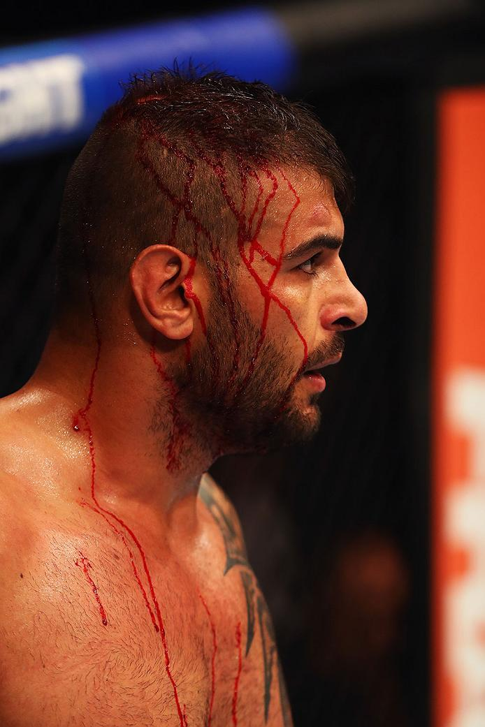 HAMBURG, GERMANY - SEPTEMBER 03:  Jarjis Danho of Syria after punches from Christian Colombo of Denmark in their Heavyweight Bout during the UFC Fight Night held at Barclaycard Arena on September 3, 2016 in Hamburg, Germany.  (Photo by Dean Mouhtaropoulos