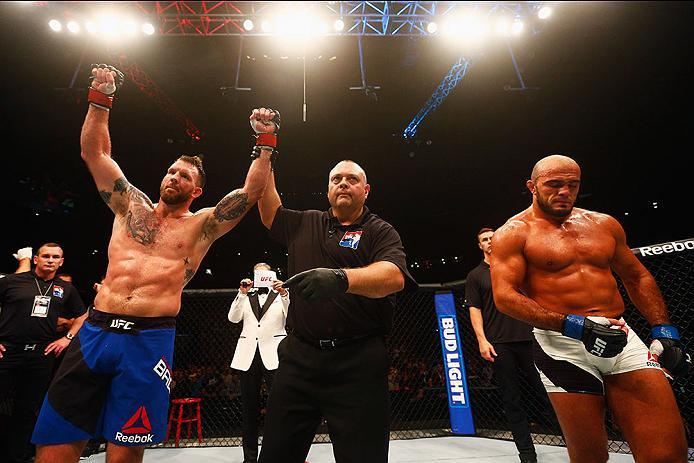 HAMBURG, GERMANY - SEPTEMBER 03:  Ryan Bader (L) of the USA celebrates his knockout victory over Ilir Latifi (R) of Sweden after in their Light Heavyweight Bout during the UFC Fight Night held at Barclaycard Arena on September 3, 2016 in Hamburg, Germany.
