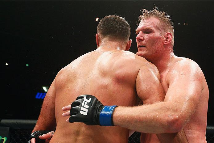 HAMBURG, GERMANY - SEPTEMBER 03:  Josh Barnett (R) of USA celebrates his victory over Andrei Arlovski (L) of Belarus in their Heavyweight Bout during the UFC Fight Night held at Barclaycard Arena  at Barclaycard Arena on September 3, 2016 in Hamburg, Germ
