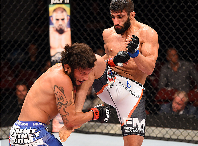 HOLLYWOOD, FL - JUNE 27:   (R-L) Sirwan Kakai of Sweden lands a knee to the head of Danny Martinez in their bantamweight during the UFC Fight Night event at the Hard Rock Live on June 27, 2015 in Hollywood, Florida. (Photo by Josh Hedges/Zuffa LLC/Zuffa L