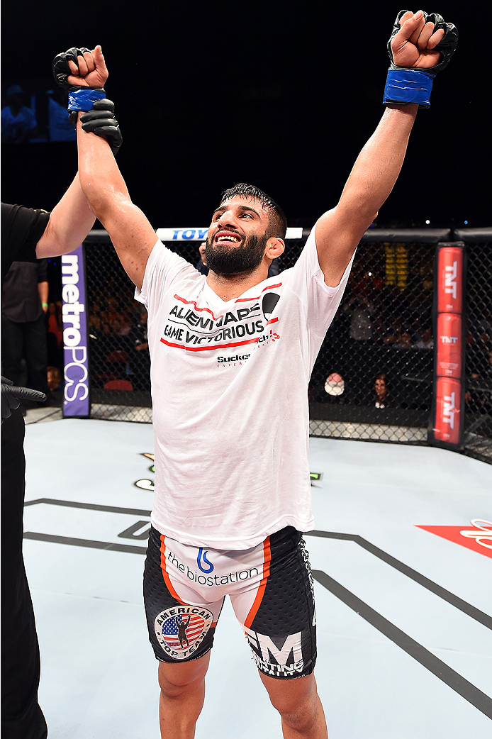HOLLYWOOD, FL - JUNE 27:  Sirwan Kakai of Sweden celebrates after defeating Danny Martinez in their bantamweight during the UFC Fight Night event at the Hard Rock Live on June 27, 2015 in Hollywood, Florida. (Photo by Josh Hedges/Zuffa LLC/Zuffa LLC via G