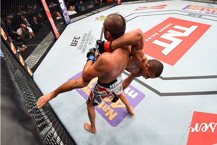 HOLLYWOOD, FL - JUNE 27:   (L-R) Levan Makashvili controls the body of Hacran Dias of Brazil in their featherweight during the UFC Fight Night event at the Hard Rock Live on June 27, 2015 in Hollywood, Florida. (Photo by Josh Hedges/Zuffa LLC/Zuffa LLC vi