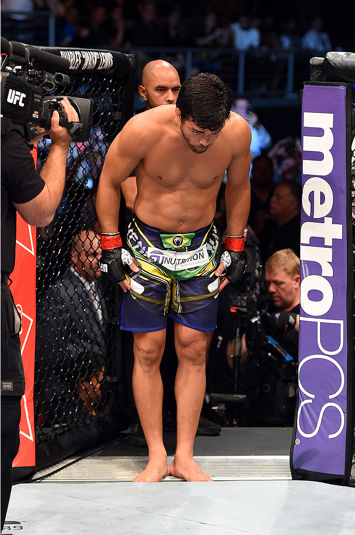 HOLLYWOOD, FL - JUNE 27:   Lyoto Machida of Brazil enters the Octagon before facing Yoel Romero in their middleweight during the UFC Fight Night event at the Hard Rock Live on June 27, 2015 in Hollywood, Florida. (Photo by Josh Hedges/Zuffa LLC/Zuffa LLC
