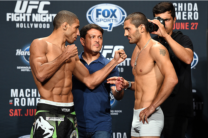 HOLLYWOOD, FL - JUNE 26:  (L-R) Hacran Dias of Brazil and Levan Makashvili face off during the UFC weigh-in at the Seminole Hard Rock Casino on June 26, 2015 in Hollywood, Florida. (Photo by Josh Hedges/Zuffa LLC/Zuffa LLC via Getty Images)