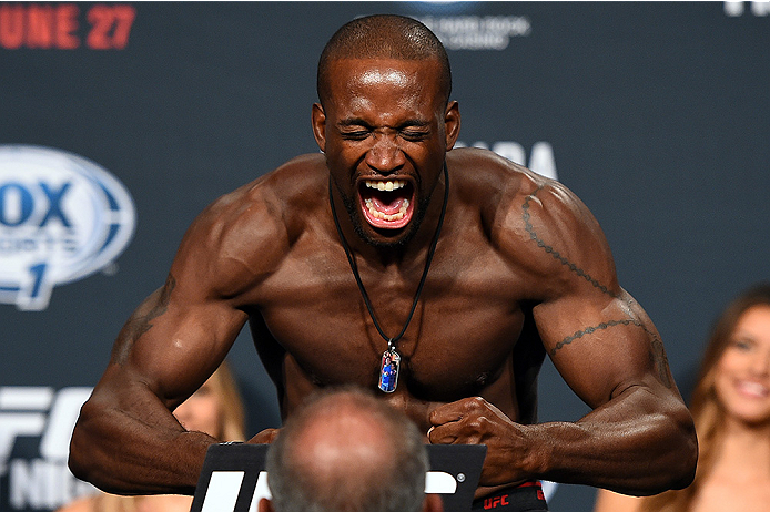HOLLYWOOD, FL - JUNE 26:   Eddie Gordon steps on the scale during the UFC weigh-in at the Seminole Hard Rock Casino on June 26, 2015 in Hollywood, Florida. (Photo by Josh Hedges/Zuffa LLC/Zuffa LLC via Getty Images)