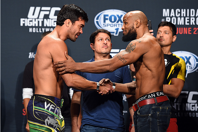 HOLLYWOOD, FL - JUNE 26:  (L-R) Lyoto Machida of Brazil and Yoel Romero of Cuba shakes hands after facing off during the UFC weigh-in at the Seminole Hard Rock Casino on June 26, 2015 in Hollywood, Florida. (Photo by Josh Hedges/Zuffa LLC/Zuffa LLC via Ge