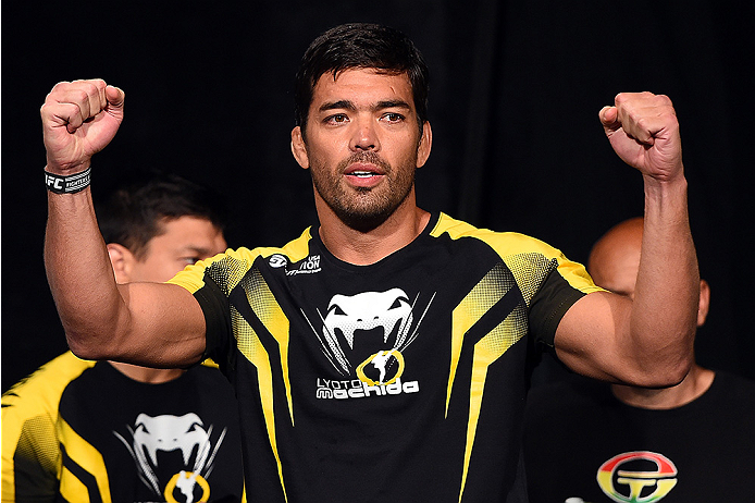 HOLLYWOOD, FL - JUNE 26:  Lyoto Machida of Brazil interacts with the crowd during the UFC weigh-in at the Seminole Hard Rock Casino on June 26, 2015 in Hollywood, Florida. (Photo by Josh Hedges/Zuffa LLC/Zuffa LLC via Getty Images)