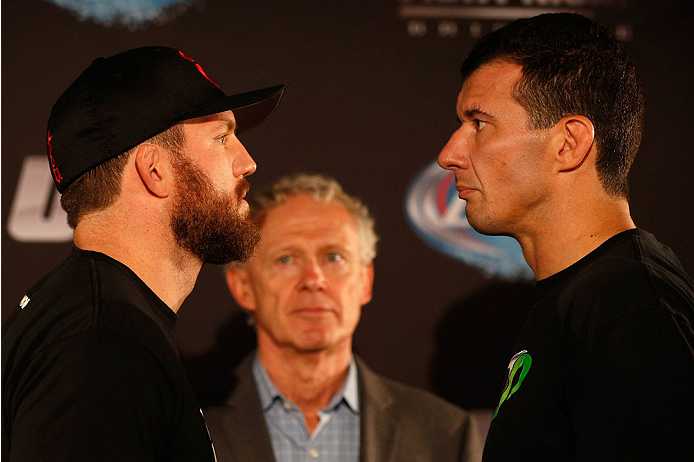 BRISBANE, AUSTRALIA - DECEMBER 05:  (L-R) Opponents Ryan Bader and Anthony Perosh face off during the UFC Ultimate Media Day at the Brisbane Marriott Hotel on December 5, 2013 in Brisbane, Australia. (Photo by Josh Hedges/Zuffa LLC/Zuffa LLC via Getty Ima