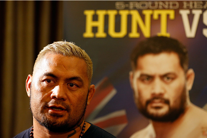 BRISBANE, AUSTRALIA - DECEMBER 05:  Mark Hunt interacts with media during the UFC Ultimate Media Day at the Brisbane Marriott Hotel on December 5, 2013 in Brisbane, Australia. (Photo by Josh Hedges/Zuffa LLC/Zuffa LLC via Getty Images)