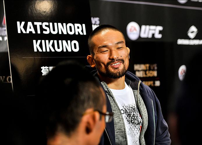TOKYO, JAPAN - SEPTEMBER 17:  Katsunori Kikuno interacts with media during the UFC Ultimate Media Day at the Hilton Tokyo on September 17, 2014 in Tokyo, Japan.  (Photo by Keith Tsuji/Zuffa LLC/Zuffa LLC via Getty Images)
