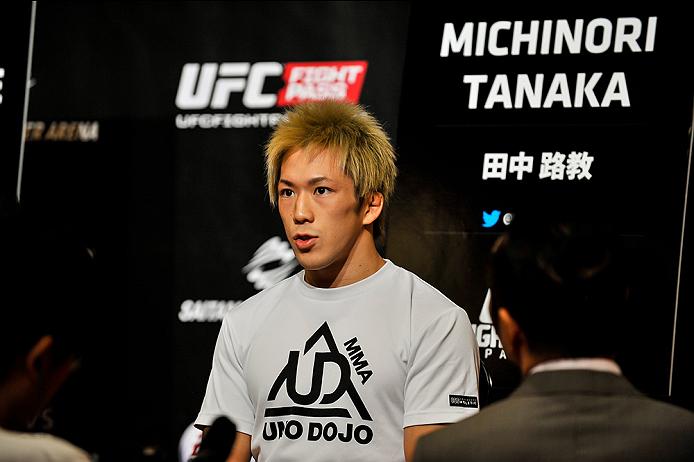 TOKYO, JAPAN - SEPTEMBER 17:  Michinori Tanaka interacts with media during the UFC Ultimate Media Day at the Hilton Tokyo on September 17, 2014 in Tokyo, Japan.  (Photo by Keith Tsuji/Zuffa LLC/Zuffa LLC via Getty Images)