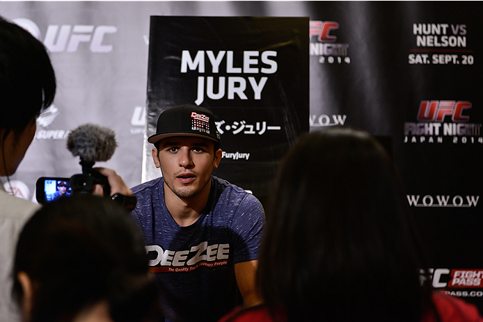 TOKYO, JAPAN - SEPTEMBER 17:  Myles Jury interacts with media during the UFC Ultimate Media Day at the Hilton Tokyo on September 17, 2014 in Tokyo, Japan.  (Photo by Keith Tsuji/Zuffa LLC/Zuffa LLC via Getty Images)