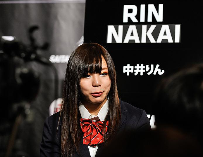 TOKYO, JAPAN - SEPTEMBER 17:  Rin Nakai interacts with media during the UFC Ultimate Media Day at the Hilton Tokyo on September 17, 2014 in Tokyo, Japan.  (Photo by Keith Tsuji/Zuffa LLC/Zuffa LLC via Getty Images)