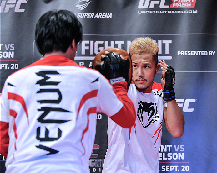 TOKYO, JAPAN - SEPTEMBER 16:  Kazuki Tokudome of Japan holds a UFC Fight Night open workout for media at the Hilton Tokyo on September 16, 2014 in Tokyo, Japan.  (Photo by Keith Tsuji/Zuffa LLC/Zuffa LLC via Getty Images)