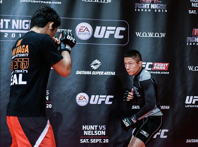 TOKYO, JAPAN - SEPTEMBER 16:  Kyoji Horiguchi of Japan holds a UFC Fight Night open workout for media at the Hilton Tokyo on September 16, 2014 in Tokyo, Japan.  (Photo by Keith Tsuji/Zuffa LLC/Zuffa LLC via Getty Images)