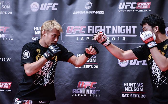 TOKYO, JAPAN - SEPTEMBER 16:  Masanori Kanehara of Japan holds a UFC Fight Night open workout for media at the Hilton Tokyo on September 16, 2014 in Tokyo, Japan.  (Photo by Keith Tsuji/Zuffa LLC/Zuffa LLC via Getty Images)