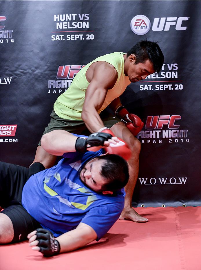 TOKYO, JAPAN - SEPTEMBER 16:  Yoshinori Akiyama of Japan holds a UFC Fight Night open workout for media at the Hilton Tokyo on September 16, 2014 in Tokyo, Japan.  (Photo by Keith Tsuji/Zuffa LLC/Zuffa LLC via Getty Images)