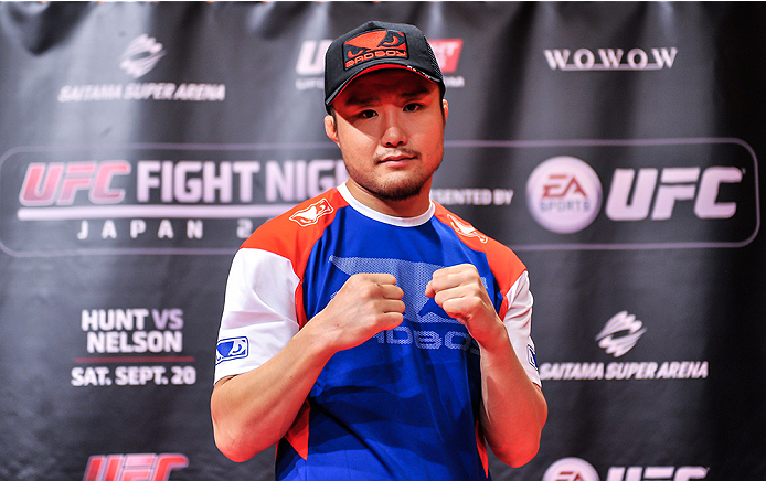 TOKYO, JAPAN - SEPTEMBER 16:  Takanori Gomi of Japan holds a UFC Fight Night open workout for media at the Hilton Tokyo on September 16, 2014 in Tokyo, Japan.  (Photo by Keith Tsuji/Zuffa LLC/Zuffa LLC via Getty Images)