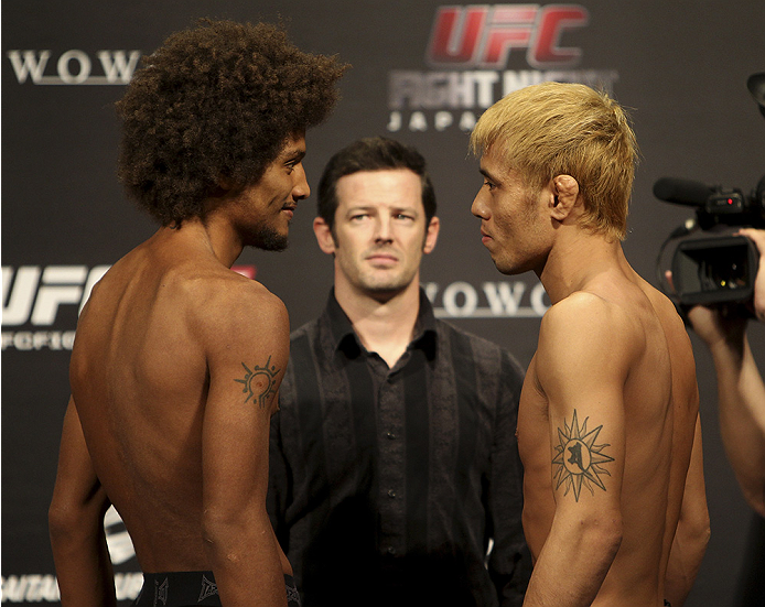 SAITAMA, JAPAN - SEPTEMBER 19:  (L and R) Alex Caceres and Masanori Kanehara during the UFC Fight Night weigh-in event on September 19, 2014 in Saitama, Japan. (Photo by Mitch Viquez/Zuffa LLC/Zuffa LLC via Getty Images)