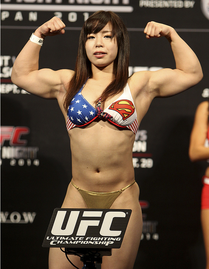 SAITAMA, JAPAN - SEPTEMBER 19: Rin Nakai steps on the scale during the UFC Fight Night weigh-in event on September 19, 2014 in Saitama, Japan. (Photo by Mitch Viquez/Zuffa LLC/Zuffa LLC via Getty Images)
