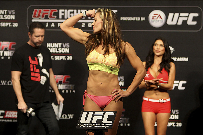 SAITAMA, JAPAN - SEPTEMBER 19: Miesha Tate steps on the scale during the UFC Fight Night weigh-in event on September 19, 2014 in Saitama, Japan. (Photo by Mitch Viquez/Zuffa LLC/Zuffa LLC via Getty Images)