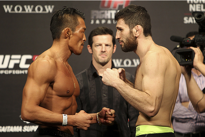 SAITAMA, JAPAN - SEPTEMBER 19: (L and R) Yoshihiro Akiyama and Amir Sadollah during the UFC Fight Night weigh-in event on September 19, 2014 in Saitama, Japan. (Photo by Mitch Viquez/Zuffa LLC/Zuffa LLC via Getty Images)