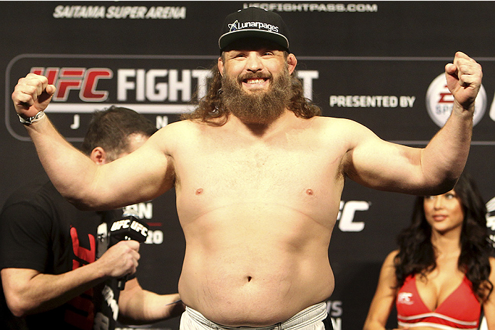 SAITAMA, JAPAN - SEPTEMBER 19: Roy Nelson steps on the scale during the UFC Fight Night weigh-in event on September 19, 2014 in Saitama, Japan. (Photo by Mitch Viquez/Zuffa LLC/Zuffa LLC via Getty Images)
