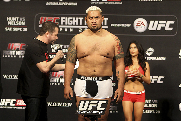 SAITAMA, JAPAN - SEPTEMBER 19: Mark Hunt steps on the scale during the UFC Fight Night weigh-in event on September 19, 2014 in Saitama, Japan. (Photo by Mitch Viquez/Zuffa LLC/Zuffa LLC via Getty Images)