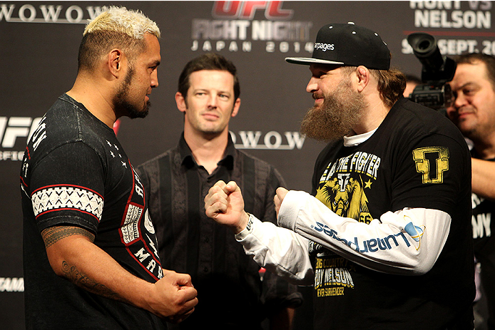 SAITAMA, JAPAN - SEPTEMBER 19: (L and R) Mark Hunt and Roy Nelson during the UFC Fight Night weigh-in event on September 19, 2014 in Saitama, Japan. (Photo by Mitch Viquez/Zuffa LLC/Zuffa LLC via Getty Images)