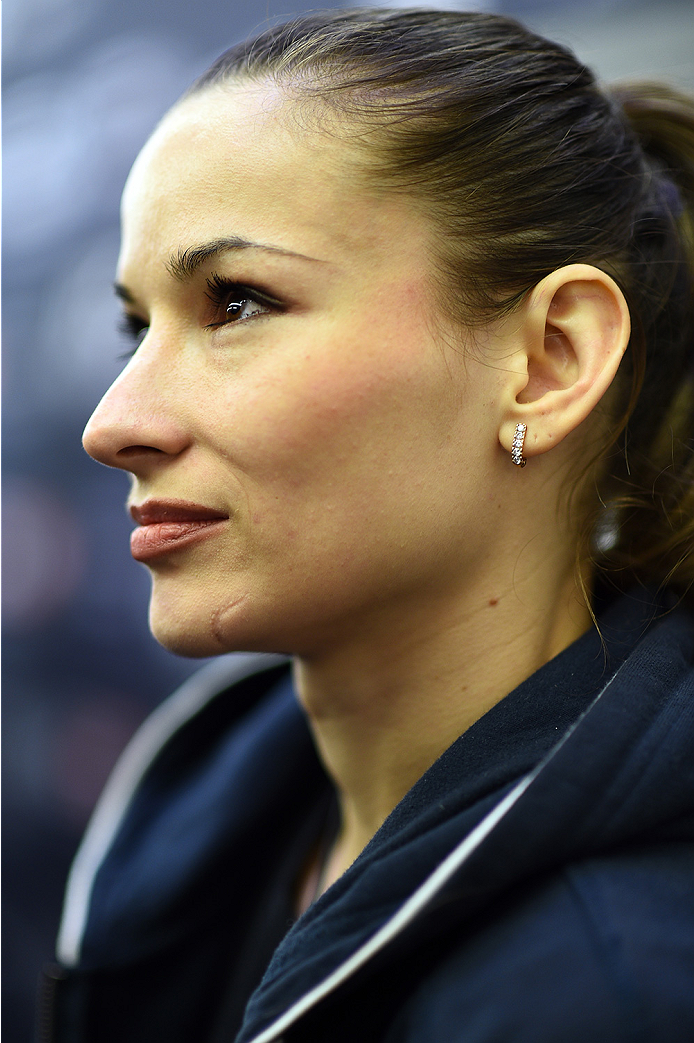 KRAKOW, POLAND - APRIL 08:  Aleksandra Albu interacts with media during the UFC Fight Night Ultimate Media Day inside the TAURON Arena on April 8, 2015 in Krakow, Poland. (Photo by Jeff Bottari/Zuffa LLC/Zuffa LLC via Getty Images)