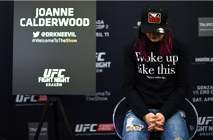 KRAKOW, POLAND - APRIL 08:  Joanne Calderwood of Scotland takes a break between interviews during the UFC Fight Night Ultimate Media Day inside the TAURON Arena on April 8, 2015 in Krakow, Poland. (Photo by Jeff Bottari/Zuffa LLC/Zuffa LLC via Getty Image
