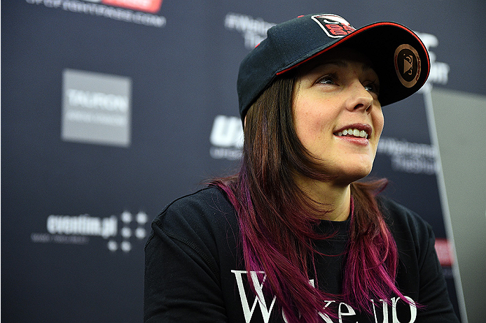 KRAKOW, POLAND - APRIL 08:  Joanne Calderwood of Scotland interacts with media during the UFC Fight Night Ultimate Media Day inside the TAURON Arena on April 8, 2015 in Krakow, Poland. (Photo by Jeff Bottari/Zuffa LLC/Zuffa LLC via Getty Images)
