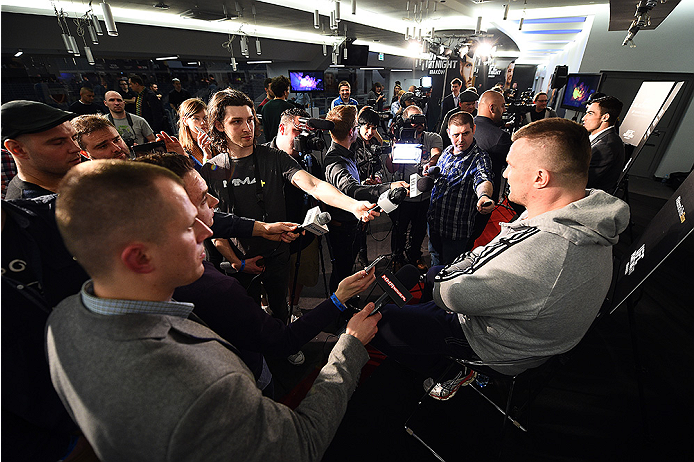 KRAKOW, POLAND - APRIL 08:  Mirko Cro Cop of Croatia interacts with media during the UFC Fight Night Ultimate Media Day inside the TAURON Arena on April 8, 2015 in Krakow, Poland. (Photo by Jeff Bottari/Zuffa LLC/Zuffa LLC via Getty Images)