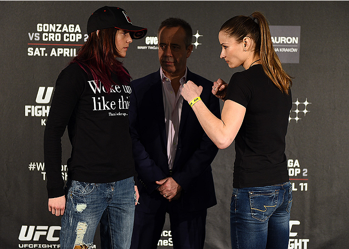 KRAKOW, POLAND - APRIL 08:  Joanne Calderwood of Scotland (L) and Maryna Moroz of Croatia face off for the media during the UFC Fight Night Ultimate Media Day inside the TAURON Arena on April 8, 2015 in Krakow, Poland. (Photo by Jeff Bottari/Zuffa LLC/Zuf