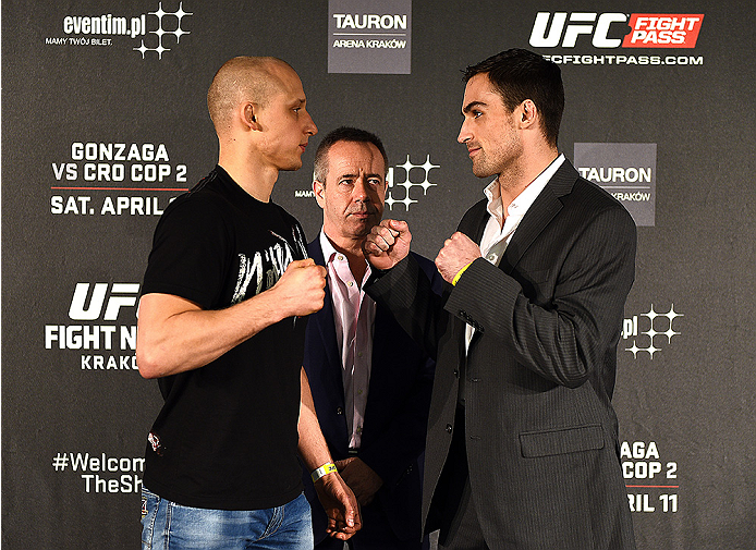 KRAKOW, POLAND - APRIL 08:  Pawal Pawlak (L) and Sheldon Westcott of Canada face off for the media during the UFC Fight Night Ultimate Media Day inside the TAURON Arena on April 8, 2015 in Krakow, Poland. (Photo by Jeff Bottari/Zuffa LLC/Zuffa LLC via Get