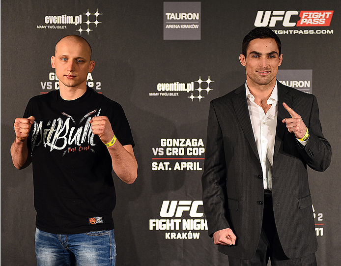 KRAKOW, POLAND - APRIL 08:  Pawal Pawlak (L) and Sheldon Westcott of Canada interact with the media during the UFC Fight Night Ultimate Media Day inside the TAURON Arena on April 8, 2015 in Krakow, Poland. (Photo by Jeff Bottari/Zuffa LLC/Zuffa LLC via Ge