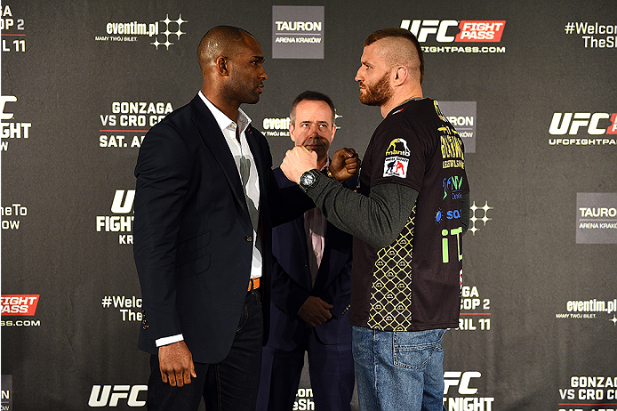 KRAKOW, POLAND - APRIL 08:  Jimi Manuwa of England (L) and Jan Blachowicz face off for the media during the UFC Fight Night Ultimate Media Day inside the TAURON Arena on April 8, 2015 in Krakow, Poland. (Photo by Jeff Bottari/Zuffa LLC/Zuffa LLC via Getty