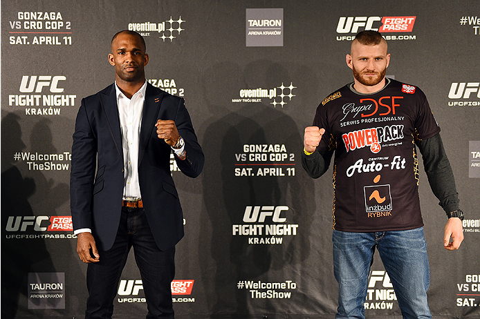 KRAKOW, POLAND - APRIL 08:  Jimi Manuwa of England (L) and Jan Blachowicz interact with the media during the UFC Fight Night Ultimate Media Day inside the TAURON Arena on April 8, 2015 in Krakow, Poland. (Photo by Jeff Bottari/Zuffa LLC/Zuffa LLC via Gett