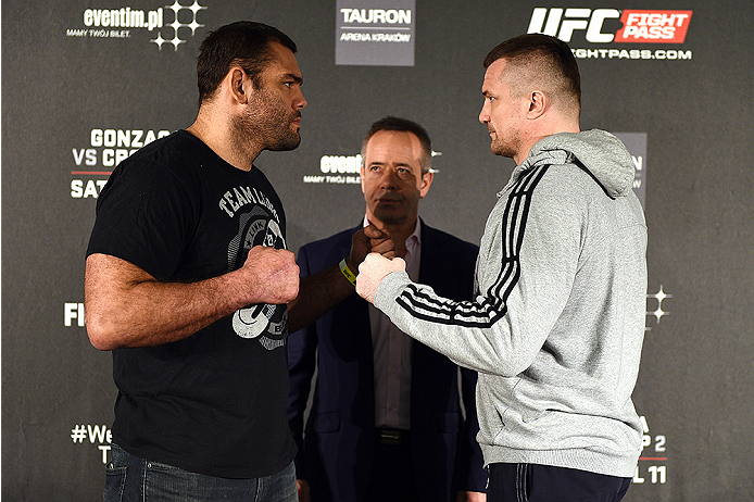 KRAKOW, POLAND - APRIL 08:  Gabriel Gonzaga of Brazil (L) and Mirko Cro Cop of Croatia face off for the media during the UFC Fight Night Ultimate Media Day inside the TAURON Arena on April 8, 2015 in Krakow, Poland. (Photo by Jeff Bottari/Zuffa LLC/Zuffa