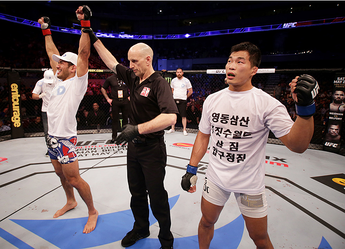 MANILA, PHILIPPINES - MAY 16: Phillipe Nover of the United States celebrates his win over Yui Chul Nam of South Korea in their featherweight fight during the UFC Fight Night event at the Mall of Asia Arena on May 16, 2015 in Manila, Philippines. (Photo by