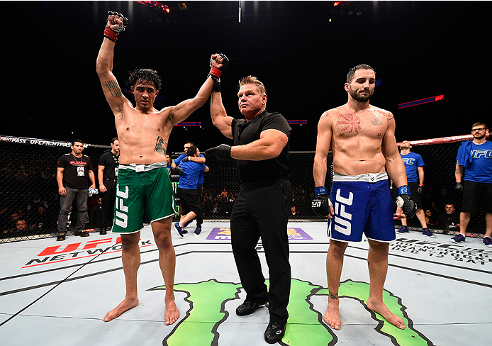 MONTERREY, MEXICO - NOVEMBER 21:  Erick Montano of Mexico celebrates after his victory over Enrique Marin of Spain in their welterweight bout during the UFC Fight Night event at Arena Monterrey on November 21, 2015 in Monterrey, Mexico.  (Photo by Jeff Bo