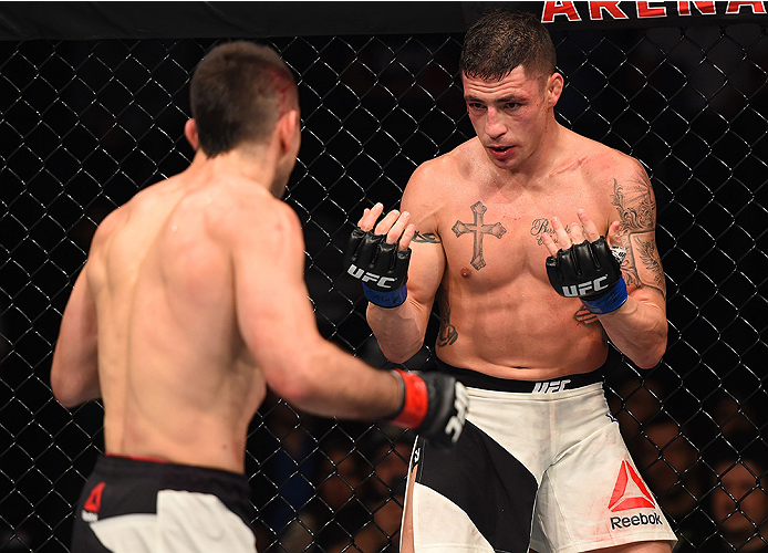 MONTERREY, MEXICO - NOVEMBER 21:  (R-L) Diego Sanchez of the United States taunts Ricardo Lamas of the United States in their featherweight bout during the UFC Fight Night event at Arena Monterrey on November 21, 2015 in Monterrey, Mexico.  (Photo by Jeff